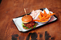 Pictured: A pulled pork burger. Monday 15 May 2017<br /> Re: Coyote Ugly Saloon in Cardiff, Wales, UK.