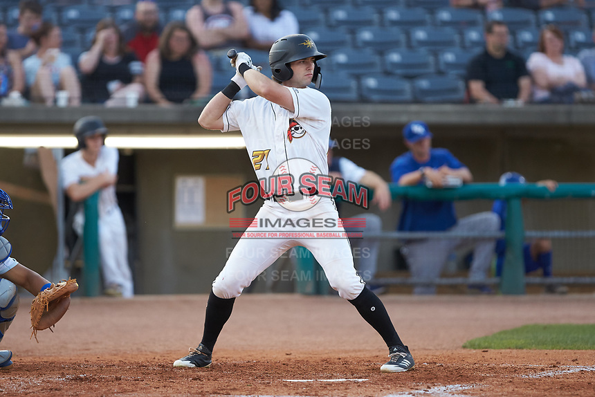 Chris Sharpe (27) of the West Virginia Power at bat against the Lexington Legends at Appalachian Power Park on June 7, 2018 in Charleston, West Virginia. The Power defeated the Legends 5-1. (Brian Westerholt/Four Seam Images)