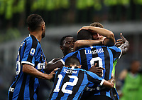 Calcio, Serie A: Inter Milano - Lecce, Giuseppe Meazza stadium, September 26 agosto 2019.<br /> Inter's Romelu Lukaku celebrates after scoring with his teammates during the Italian Serie A football match between Inter and Lecce at Giuseppe Meazza (San Siro) stadium, September August 26,, 2019.<br /> UPDATE IMAGES PRESS/Isabella Bonotto