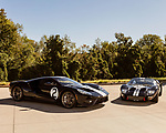October 18, 2019. Charlotte, North Carolina.<br /> <br /> (left to right) Contemporary Ford GT and the Ford GT Mark II.<br /> <br /> Rob Kauffman is owner of Charlotte, NC-based RK Motors, a classic car restoration and sales shop. In 1966 a Ford racing team beat Ferrari at Le Mans. Kauffman has the Ford GT Mk II that won the race. He also owns a new Ford GT painted in the same paint scheme as the 1966 car.<br /> <br /> Jeremy M. Lange for The Wall Street Journal