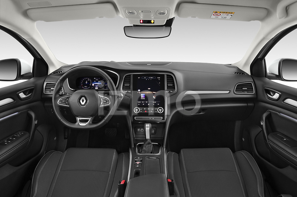 Stock photo of straight dashboard view of 2020 Renault Megane-Estate Intens 5 Door wagon Dashboard