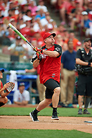 Cincinnati Reds great Sean Casey bats during the All-Star Legends and Celebrity Softball Game on July 12, 2015 at Great American Ball Park in Cincinnati, Ohio.  (Mike Janes/Four Seam Images)