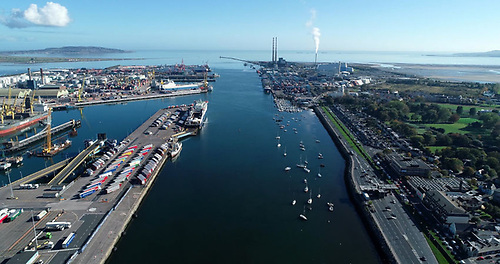 Aerial view of Dublin Port