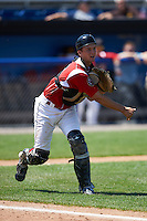 Batavia Muckdogs catcher Blake Anderson (26) throws to first during a game against the Williamsport Crosscutters on July 16, 2015 at Dwyer Stadium in Batavia, New York.  Batavia defeated Williamsport 4-2.  (Mike Janes/Four Seam Images)
