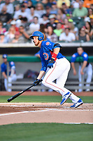 Tennessee Smokies catcher Cael Brockmeyer (34) swings at a pitch during a game against the Biloxi Shuckers at Smokies Stadium on May 26, 2017 in Kodak, Tennessee. The Smokies defeated the Shuckers 3-2. (Tony Farlow/Four Seam Images)