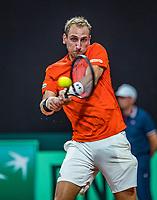 The Hague, The Netherlands, September 15, 2017,  Sportcampus , Davis Cup Netherlands - Chech Republic, First rubber: Thiemo de Bakker (NED) <br /> Photo: Tennisimages/Henk Koster