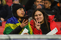 20200307  Valenciennes , France : Brasilian fans  pictured during the female football game between the national teams of France and Brasil on the second matchday of the Tournoi de France 2020 , a prestigious friendly womensoccer tournament in Northern France , on Saturday 7 th March 2020 in Valenciennes , France . PHOTO SPORTPIX.BE | DIRK VUYLSTEKE