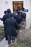 Wassailing old New Years day January 6th. Bodmin Cornwall 2016.<br /> <br /> L to R. Ladies in the door way are Heidi Moore, Lizzie Scoble, Hilary Coleman, Marie Scoble