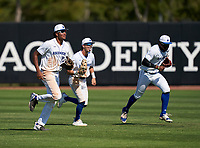 IMG Academy Ascenders outfielders James Wood (23), Max Galvin (17), and Elijah Green (2) celebrate after closing out a game against the Calvary Christian Academy Eagles on March 13, 2021 at IMG Academy in Bradenton, Florida.  (Mike Janes/Four Seam Images)