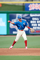 Clearwater Threshers second baseman Jose Gomez (3) throws to first base for the out during a game against the Florida Fire Frogs on June 1, 2018 at Spectrum Field in Clearwater, Florida.  Clearwater defeated Florida 2-0 in a game that was started on May 19th but called in the fifth inning due to weather.  (Mike Janes/Four Seam Images)