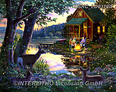 Liz,LANDSCAPES, LANDSCHAFTEN,country,house by the lake,campfire, PAISAJES, LizDillon, paintings+++++,USHCLD0312A,#L#, EVERYDAY ,puzzle,puzzles