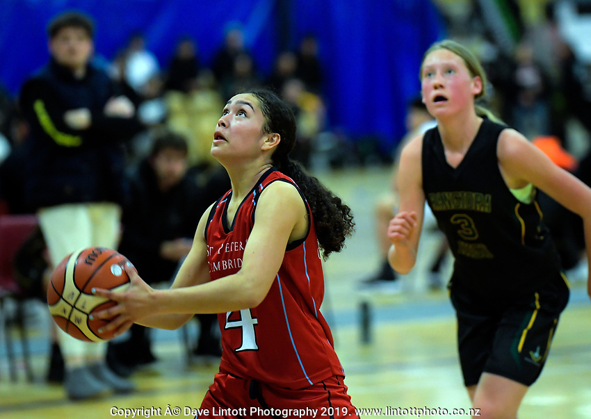 Action from the 2019 Schick AA Girls' Secondary Schools Basketball Premiership National Championship match between St Peter's School Cambridge and Rangiora High School at the Central Energy Trust Arena in Palmerston North, New Zealand on Monday, 30 September 2019. Photo: Dave Lintott / lintottphoto.co.nz