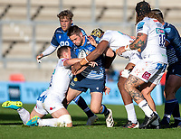 3rd October 2021; AJ Bell stadium, Eccles, Greater Manchester, England: Gallagher Premiership Rugby, Sale v Exeter ;  Luke James of Sale Sharks is tackled by  Ollie Devoto of Exeter Chiefs
