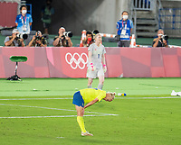YOKOHAMA, JAPAN - AUGUST 6: Caroline Seger #17 of Sweden reacts to a missed penalty kick during a game between Canada and Sweden at International Stadium Yokohama on August 6, 2021 in Yokohama, Japan.