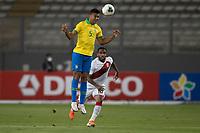 13th October 2020; National Stadium of Peru, Lima, Peru; FIFA World Cup 2022 qualifying; Peru versus Brazil;  Jefferson Farfán of Peru is beaten to th eheader by Casemiro of Brazil