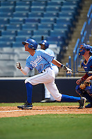 Third baseman Obie Ricumstrict (7) of Mount Pleasant High School in Mt. Pleasant, Michigan playing for the Kansas City Royals scout team during the East Coast Pro Showcase on August 3, 2016 at George M. Steinbrenner Field in Tampa, Florida.  (Mike Janes/Four Seam Images)