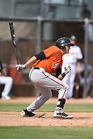 San Francisco Giants third baseman Ryder Jones (28) during an Instructional League game against the Oakland Athletics on October 15, 2014 at Papago Park Baseball Complex in Phoenix, Arizona.  (Mike Janes/Four Seam Images)