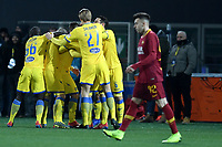 Camillo Ciano of Frosinone celebrates with team mates after scoring first gal for his side during the Serie A 2018/2019 football match between Frosinone and AS Roma at stadio Benito Stirpe, Frosinone, February 23, 2018 <br />  Foto Andrea Staccioli / Insidefoto