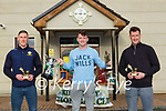 Conor Keane who won the Senior Player of the Year with Jonathan Lyne and Brian Kelly who were honoured for their Kerry careers at the Legion GAA annual awards in Direen on Friday