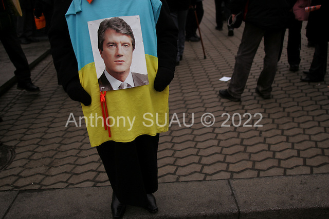 "Kiev, Ukraine.December 27, 2004..Kreshatik, the central street in Kiev where demonstrators lived and demonstrated for nearly a month to overturn what they felt was a rigged election. In a second round of voting, that they won, the polls show Viktor Yushchenko, the opposition candidate, in a strong lead over Viktor Yanukovich with 98% of the vote counted. ..The first round of voting was considered fraudulent when the ruling president Viktor Yahukovich won and the opposition candidate Viktor Yushchenko lost. ..Several hundred thousand Ukrainians took to the streets of Kiev and held daily rallies on Maidan Independence Square. The protests lasted nearly a month before the first vote was declared invalid and a new round of elections held on December 26, 2004. ..The demonstrations would come to be known as the ""Orange Revolution"" after the color of the opposition party."