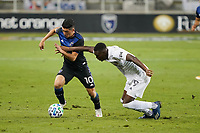 SAN JOSE, CA - OCTOBER 03: Cristian Espinoza #10 of the San Jose Earthquakes is marked by Diedie Traore #19 of the Los Angeles Galaxy during a game between Los Angeles Galaxy and San Jose Earthquakes at Earthquakes Stadium on October 03, 2020 in San Jose, California.