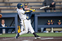 Michigan Wolverines shortstop Jack Blomgren (2) swings the bat against the San Jose State Spartans on March 27, 2019 in Game 2 of the NCAA baseball doubleheader at Ray Fisher Stadium in Ann Arbor, Michigan. Michigan defeated San Jose State 3-0. (Andrew Woolley/Four Seam Images)