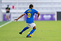 ORLANDO, FL - FEBRUARY 24: Marta #10 of Brazil dribbles during a game between Brazil and Canada at Exploria Stadium on February 24, 2021 in Orlando, Florida.