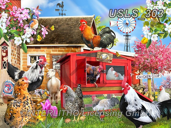 Lori, LANDSCAPES, LANDSCHAFTEN, PAISAJES, paintings+++++Spring Chickens_9_72_10in,USLS303,#l#, EVERYDAY ,puzzle,puzzles