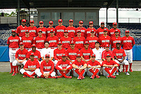 July 3, 2009:  Batavia Muckdogs team photo before a game at Dwyer Stadium in Batavia, NY.  The Muckdogs are the NY-Penn League Short-Season Class-A affiliate of the St. Louis Cardinals.  First Row L-R:  Guillermo Toribio, Michael Blazek, LaCurtis Mayes, Scott Schneider, Joe Kelly;  Second Row L-R:  Devin Goodwin, Luis De La Cruz, Strength Coach Ryan Crotin, Pitching Coach Timothy Leveque, Manager Mark DeJohn, Hitting Coach Ramon Ortiz, Trainer Manabu Kuwazuru, Clubhouse Manager Tony Pecora, D'Marcus Ingram; Third Row L-R:  Xavier Scruggs, Eric Fornataro, Santo Maertz, Tyler Leach, Jack Cawley, Tyler Lavigne, Josh Squatrito, Dan Richardson, Niko Vasquez, Andres Rosales;  Fourth Row L-R:  Ryde Rodriguez, Chris Corrigan, Ryan Jackson, Beau Riportella, Kevin Siegrist, Deryk Hooker, Daniel Calhoun, Justin Edwards, Jairo Martinez, Ivan Castro.  Photo By Mike Janes/Four Seam Images
