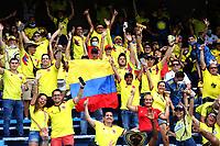 BARRANQUILLA – COLOMBIA, 10-10-2021: Hinchas de Colombia (COL) animan a su equipo, durante partido entre los seleccionados de Colombia (COL) y Brasil (BRA), de la fecha 12 por la clasificatoria a la Copa Mundo FIFA Catar 2022, jugado en el estadio Metropolitano Roberto Melendez en la ciudad de Barranquilla. / Fans of Colombia cheer for their team, during match between the teams of Colombia (COL) and Brasil (BRA), of the 12th date for the FIFA World Cup Qatar 2022 Qualifier, played at Metropolitan stadium Roberto Melendez in Barranquilla city. Photo: VizzorImage / Jairo Cassiani / Contribuidor