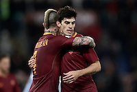 Calcio, ottavi di finale di Tim Cup: Roma vs Sampdoria. Roma, stadio Olimpico, 19 gennaio 2017.<br /> Roma's Radja Nainggolan, left, celebrates with teammate Diego Perotti after scoring during the Italian Cup round of 16 football match between Roma and Sampdoria at Rome's Olympic stadium, 19 January 2017.<br /> UPDATE IMAGES PRESS/Isabella Bonotto