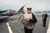 - Esercitazioni NATO in mar Mediterraneo, aprile 1996, la fanfara a bordo della nave portarei Garibaldi<br /> <br /> - NATO exercises in the Mediterranean Sea, April 1996, the brass band on deck of Italian Navy Garibaldi carrier ship