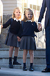 14.09.2012. Prince Felipe of Spain, Princess Letizia of Spain and their daughters Leonor and Sofia  arrive at 'Santa Maria de los Rosales' School in Aravaca near of Madrid, Spain. In the image (L-R) Princess Sofia and Princess Leonor  (Alterphotos/Marta Gonzalez)  (Alterphotos/Marta Gonzalez)
