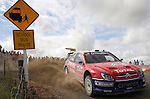 World Rally Champion Sebastian Loeb powers through a corner on Special Stage 10.  He won the stage and at the end of SS14 he leads by 53.8 secs over Marcus Gronholm. 09Apr05. © james madelin 2005 / +44 7513 057500 / james@jamesmadelin.com