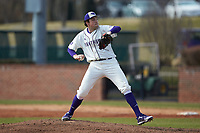 High Point Panthers pitcher Teddy Merritt (13) in action against the Bryant Bulldogs at Williard Stadium on February 21, 2021 in  Winston-Salem, North Carolina. The Panthers defeated the Bulldogs 3-2. (Brian Westerholt/Four Seam Images)