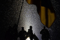 Protesters seen on the barricades during short truce in clashes in the  Government district. Kiev. Ukraine