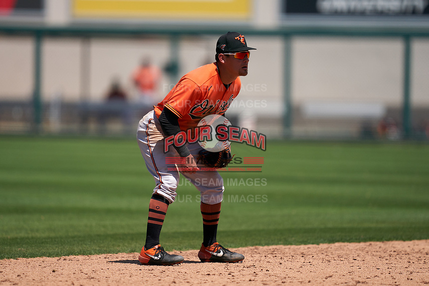 Baltimore Orioles shortstop Joseph Ortiz (91) during a Minor League Spring Training game against the Detroit Tigers on April 14, 2021 at Joker Marchant Stadium in Lakeland, Florida.  (Mike Janes/Four Seam Images)