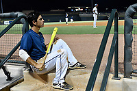 Shortatop Andres Gimenez (13) of the Columbia Fireflies watches the action from the dugout steps during game two of a doubleheader against the Rome Braves on Saturday, August 19, 2017, at Spirit Communications Park in Columbia, South Carolina. Columbia won, 1-0. (Tom Priddy/Four Seam Images)