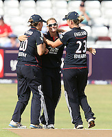 Laura Marsh of England (C) celebrates the wicket of Suzie Bates - England Women vs New Zealand Women - First match of the NatWest summer T20 cricket series at the Ford County Ground, home of Essex CCC, Chelmsford -  29/06/10 - MANDATORY CREDIT: Gavin Ellis/TGSPHOTO - Self billing applies where appropriate - Tel: 0845 094 6026