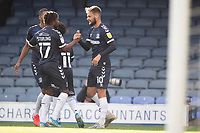 Kasaiah Sterling, Southend United congratulates goalscorer Brandon Goodship, Southend United during Southend United vs Exeter City, Sky Bet EFL League 2 Football at Roots Hall on 10th October 2020