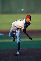 Mahoning Valley Scrappers starting pitcher Triston McKenzie (23) delivers a pitch during a game against the Auburn Doubledays on July 19, 2016 at Falcon Park in Auburn, New York.  Mahoning Valley defeated Auburn 9-1.  (Mike Janes/Four Seam Images)