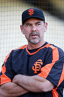 San Francisco Giants Manager Bruce Bochy during batting practice before a game from the 2007 season at Dodger Stadium in Los Angeles, California. (Larry Goren/Four Seam Images)
