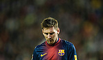 VALLADOLID, SPAIN - DECEMBER 22:  Lionel Messi of FC Barcelona looks on during the La Liga game between Real Valladolid and FC Barcelona at Jose Zorrilla on December 22, 2012 in Valladolid, Spain. Photo by Victor Fraile / The Power of Sport Images