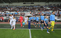 Ashley Williams leads Swansea players to the pitch. Barclays Premier League match between Swansea City and Tottenham Hotspur played at The Liberty Stadium, Swansea on October 4th 2015