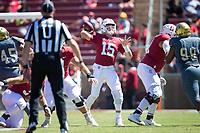 STANFORD, CA - September 15, 2018: Davis Mills at Stanford Stadium. The Stanford Cardinal defeated UC Davis, 30-10.