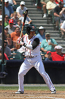 Richmond Flying Squirrels infielder Jose Flores #5 at bat during a game against the Trenton Thunder at The Diamond on May 27, 2012 in Richmond, Virginia. Richmond defeated Trenton by the score of 5-2. (Robert Gurganus/Four Seam Images)