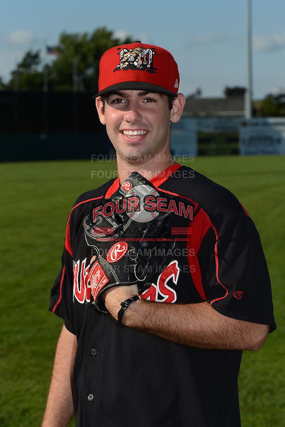 Batavia Muckdogs pitcher Tyler Kane (56) poses for a photo before a game against the Williamsport Crosscutters on September 4, 2013 at Dwyer Stadium in Batavia, New York.  Williamsport defeated Batavia 6-3 in both teams season finale.  (Mike Janes/Four Seam Images)