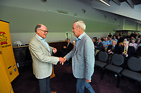 Alan Isaac (right) with Alisdair McBeth. Cricket Wellington membership badge presentations in the Long Room at the Basin Reserve in Wellington, New Zealand on Saturday, 14 November 2020. Photo: Dave Lintott / lintottphoto.co.nz