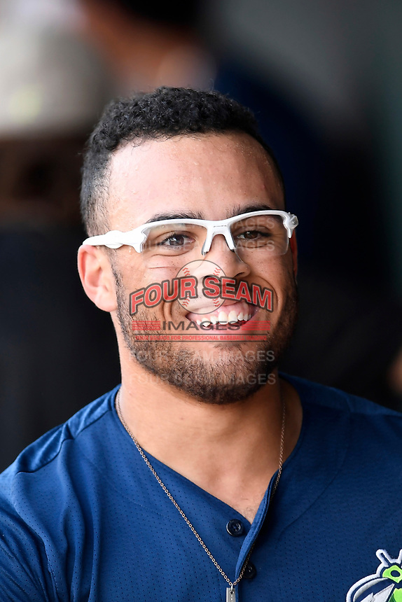Center fielder Desmond Lindsay (2) of the Columbia Fireflies in a game against the Charleston RiverDogs on Friday, June 9, 2017, at Spirit Communications Park in Columbia, South Carolina. Columbia won, 3-1. (Tom Priddy/Four Seam Images)