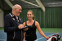 Rotterdam, The Netherlands, 15.03.2014. NOJK 14 and 18 years ,National Indoor Juniors Championships of 2014, Inger van Dijkman (NED) with Umpire<br /> Photo:Tennisimages/Henk Koster